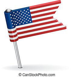 American pin icon flag. Vector illustration Eps 8.