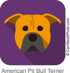American pit bull terrier dog face flat icon, dog series