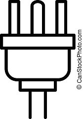 American plug wire icon, outline style