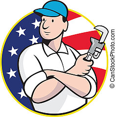 American Plumber Worker With Adjustable Wrench - Cartoon...