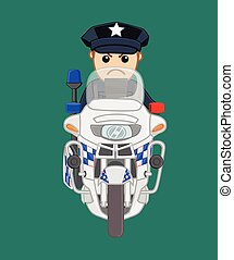 American Police on Bike Vector Illustration