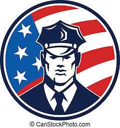 American Policeman Security Guard Retro - Illustration of an...