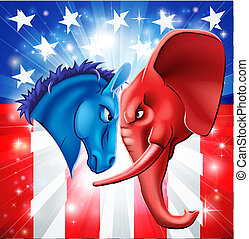 American politics concept illustration of a donkey and elephant facing off. Symbols of Democrat and Republican two US parties. Could be for presidential debate, partisan politics, or just an election.