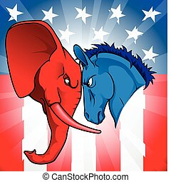 American politics - The democrat and republican symbols of a...