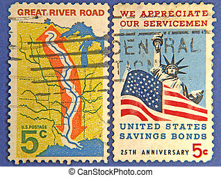 American postage stamps.