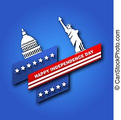 American Poster for Fourth of July Independence Day of the USA, Capitol, Statue of Liberty