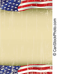 American poster waving grunge flag - A vertical american...