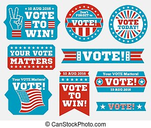 American presidential election 2016 badges and vote labels