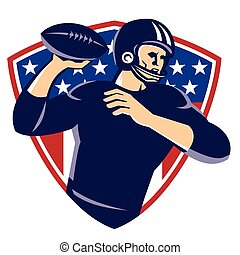 american quarterback football player passing shield