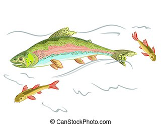 American rainbow trout predator catch a fish in the wild stream eps 8 vector