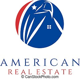 american real estate concept wit eagle and house