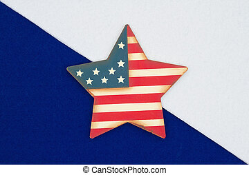 American red, white and blue background with retro USA flag star