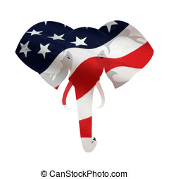 American Republican Elephant Symbol - Map displacement of...