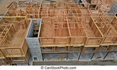American residential frame house under construction home in residential home