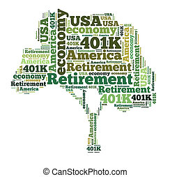 American retirement plan concept with word cloud