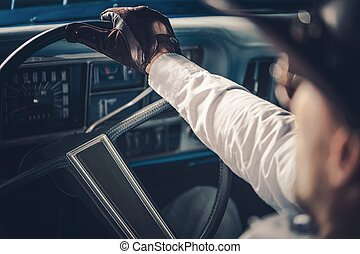 American Retro Car Driving