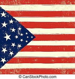 American retro square grunge flag