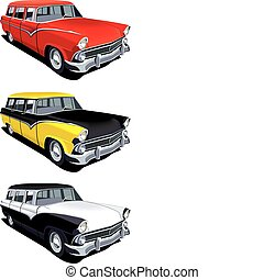 Vectorial icon set of American old-fashioned station wagons isolated on white backgrounds. Every cars is in separate layers. File contains gradients and blends.