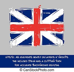 American Revolution British Flag Flat - Artistic Brush...