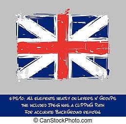American Revolution British Flag Flat - Artistic Brush Strokes and Splashes