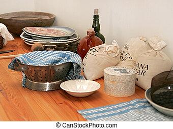 American Revolution kitchen - A typical kitchen baking setup...