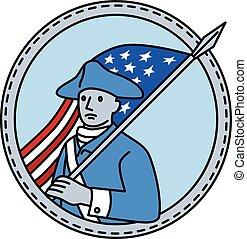 American Revolutionary Soldier Flag Circle Mono Line