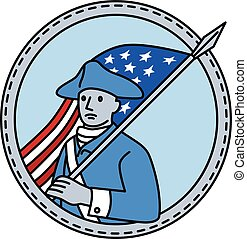 American Revolutionary Soldier Flag Circle Mono Line