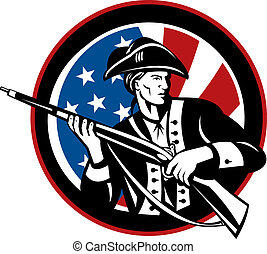 American revolutionary soldier with rifle and flag in background set inside a circle