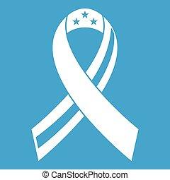 American ribbon icon white