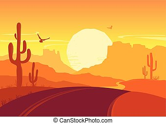 American road in desert. Vector Arizona prairie landscape