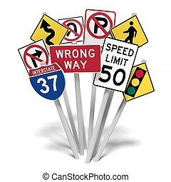 American road signs on white background