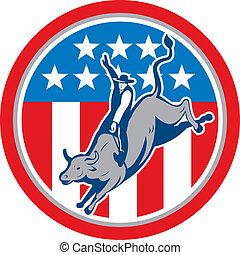 American Rodeo Bull Riding Circle Cartoon