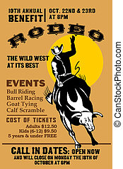 "retro style illustration of a Poster showing an American Rodeo Cowboy riding a bull bucking jumping with sun in background and words ""Annual Benefit Rodeo """
