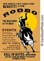 American Rodeo Cowboy riding bull bucking - retro style...