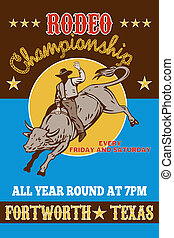 American Rodeo Cowboy riding bull - retro style illustration...