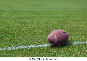 American rugby ball on the grass