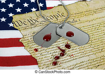 Drops of blood on military dog tags.