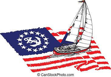 American Sailing Yacht vector