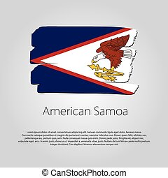 American Samoa Flag with colored hand drawn lines in Vector Format