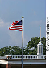 Flag and top of old building