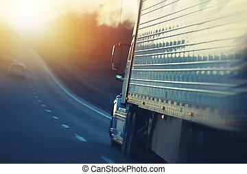American Semi Truck on Highway - American Semi Truck on the...