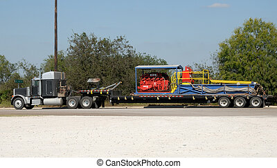 American semi truck with freight