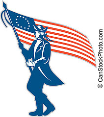 American Serviceman Soldier Waving Flag Retro - Illustration...