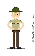 American sheriff in uniform vector illustration