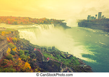 American side of Niagara Falls during sunrise . ( Filtered...