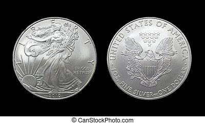 American silver eagle dollar coin over black
