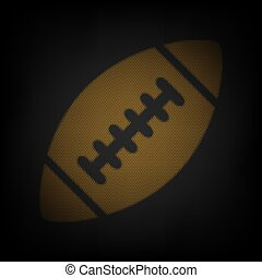 American simple football ball. Icon as grid of small orange light bulb in darkness. Illustration.