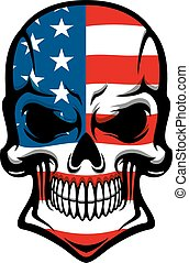 American skull with American flag pattern