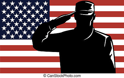 American Solder Serviceman Saluting - Illustration of an...