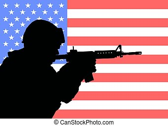 American soldier 2 - Silhouette of an American soldier with...